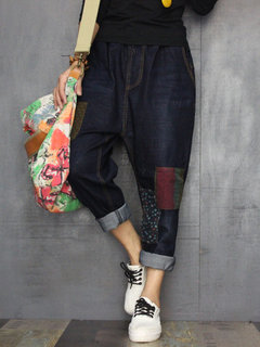 Jeans vintage con patchwork con coulisse in vita