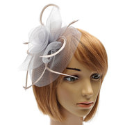 Women Bride Flower Feather Mesh Fascinator Wedding Party Headpieces Hairclip