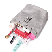 Women PU Leather Solid Gray Backpack Students Schoolbag