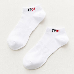 Men's Summer Breathable Cotton Solid Color TPO1 Pattern Ankle Socks Deep Antiskid Casual Comfortable