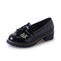 Tassel Square Heel Pattern Oxford Casual Office Lady Scarpe
