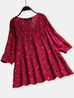 Estampa floral com decote em v 3/4 de blusa de tamanho vintage Plus