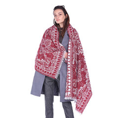 Women Winter Retro Ethnic Floral Print Scarves Shawl With Tassels Casual Vogue Warm Scarf