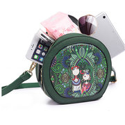 Women PU Leather Green Crossbody Bag Forest Series Bucket Bag