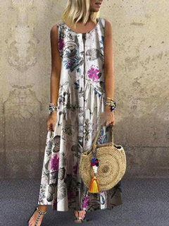 Vintage Print Floral Sleeveless Button Down Dress