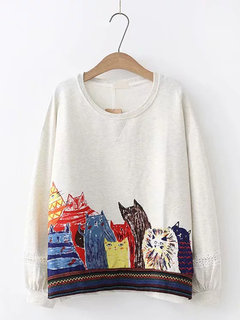 Cute Cat Print Loose Crew Neck Long Sleeve Sweatshirt for Women