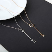Fashion Pendant Necklace Hollow Star Moon Tassels Pendant Chain Necklace Sweet Jewelry for Women