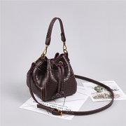 Damen Krokodilmuster Vintage Umhängetasche String Bucket Bag Solid Handbag
