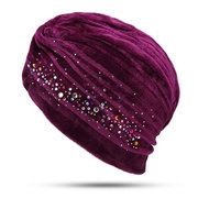 Women Warm Velvet Beanie Hat Outdoor Casual Soft Windproof Solid Color Indian National Hat
