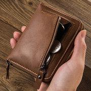 Portefeuille Vintage en Cuir PU avec Fermeture Éclair Porte-cartes pour Homme