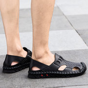 Men Hand Stitching Closed Toe Hollow Breathable Outdoor Leather Sandals