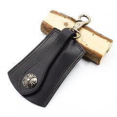 Men Genuine Leather Vintage Outdoor Casual Belt Key Bag