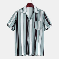 Mens Casual Vertical Striped Loose Short Sleeve Chest Pocket Turn-down Collar Shirt