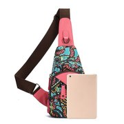 Brenice National Flowers Chest Bags Summer Light Sling Bags Crossbody Bags