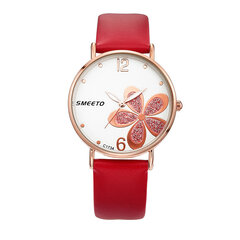 Fashion Womens Leather Watches Gold Flower Big Number Ladies Analog Clock Rose Gold Watches