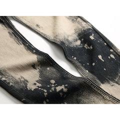 Cintura média de costura cor Skinny Fold Jeans Denim Casual Calças para homens