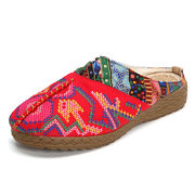 Embroidered Folkways Handmade Stitching Backless Loafers