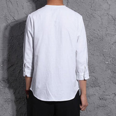 Men Chinese Buttons Closure Thin Half Sleeve Linen Shirts With Chest Pocket