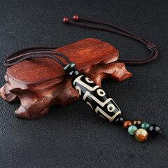 Collier vintage tibétain avec pendentif en agate neuf yeux à perles collier de bonne chance