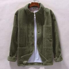 Lässige Vintage Turn Down Kragen Cord Shirt Langarm Multi Pockets Shirt für Männer