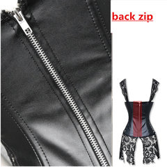 Mulheres Sexy Artificial Leather Lace Bustiers Shoulder Straps Overbust Dress Steampunk Girdles Corsets