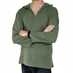 Mens Hooded Solid Color Tops Casual Cotton Linen Thin Long Sleeve T Shirts
