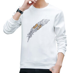 Mens Smooth Stylish Feather Printing Top Casual Sport Pullover Shirt O-neck Loose Sweatshirt