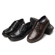 Men Big Head Comfortable Lace Up Leather Business Casual Shoes