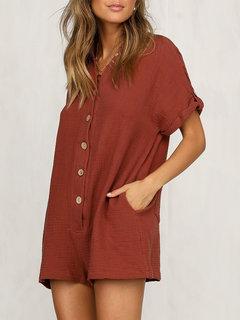 Solid Color Short Sleeve Loose Short Jumpsuit For Women