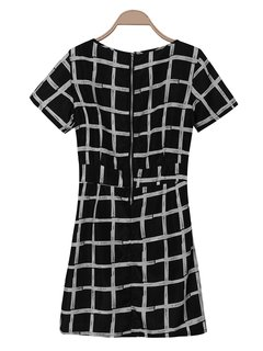 OL Grid Plaid Pleated Chiffon Elegant Women Dress