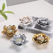 Modern Simple Exquisite Ceramic Candle Holder Hand-painted Flowers Elegant Art Living Room Home Deco