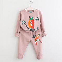 2pcs oiseau imprimé filles ensembles de vêtements t-shirt + survêtement enfants