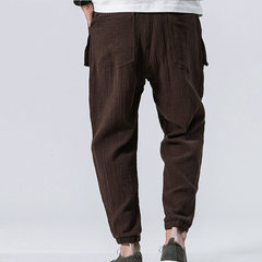 Harem pantaloni in cotone con coulisse