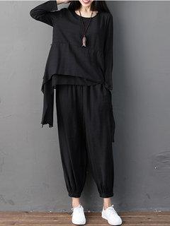 Blusas de manga comprida irregulares sólidas e calças soltas