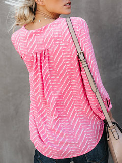 Printed Asymmetrical V-neck 3/4 Sleeve Pullover Blouse