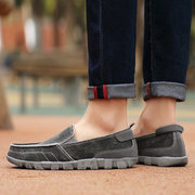 Large Size Men Canvas Breathable Soft Flat Slip On Loafers