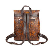 Women Vintage Genuine Leather Backpack Printing Flower National Style Satchel