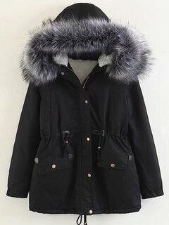 Casual gola de pele grande cintura fina casaco com capuz