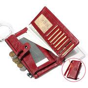 RFID Femmes haut de gamme en cuir véritable 16 porte-cartes porte-monnaie multifonctions 5.5 pouces porte-téléphone