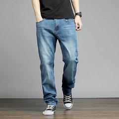Pantalon droit pour hommes de grande taille, taille moyenne, délavé, taille délavée, lavé Denim New Fat pour hommes