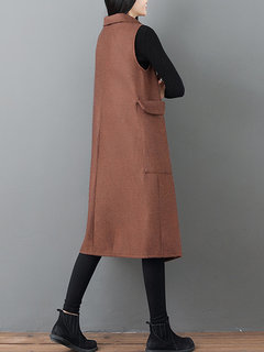 Solid Color Cross Wrap Turtleneck Vintage Vest Dress