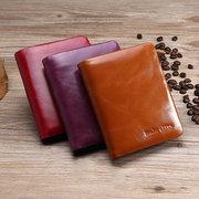 Trifold mujeres de cuero genuino aceite cera sólida billetera 13 tarjeta ranura monedero