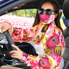 Womens Sunshade Dustproof Mask Long Shawl Diving Breathable Anti-UV Sleeves to Cover Arms Gloves