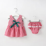 Baby Girl Plaid Bow Vest 2Pcs Set Pour 0-24Y