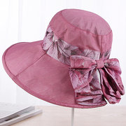 Womens Bowknot Summer Foldable Beach Floppy Cap Travel Sunshade Large Brim Sun Hats