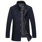 2 in 1 Wollmäntel abnehmbare Weste stricken Kragen versteckte Knöpfe Verschluss Jacke für Männer