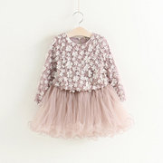 3D Flower Patch Girls Kids Long Sleeve Party Princess Dress For 3Y-11Y