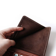 Men Two Fold Multifunction Purse Solid Casual Long Wallet Card Holder