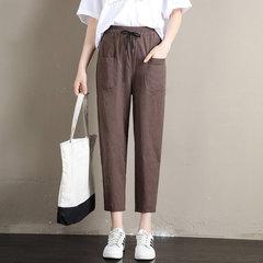 Harem in cotone e lino Pantaloni Salopette casual a ravanello sottile a nove capi