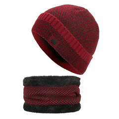 Mens Wool Velvet Knitted Hat Scarf Winter Vogue Ear Neck Warm Scarf Beanie Set
